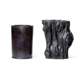 A ZITAN CYLINDRICAL BRUSHPOT AND A ZITAN TRUNK-SHAPED BRUSHP