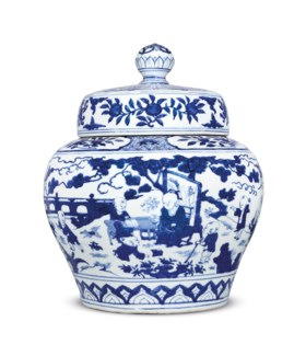 A FINE MAGNIFICENT AND IMPORTANT BLUE AND WHITE 'BOYS' JAR A