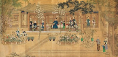 AN IMPORTANT AND EXTREMELY RARE PAINTING OF AN IMPERIAL COURTYARD-GARDEN...