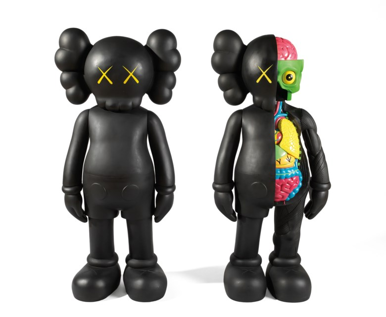 KAWS (USA, b. 1974), COMPANION, executed in 2007 and 2009. Fibre-reinforced plastic sculpture, a set of two works. 125 × 50 × 33  cm (49¼ ×19⅝ ×13  in) (2). Executed in 2007 & 2009, each from an edition of 100. Sold for HK$1,750,000 on 29 March 2019 at Christie's in Hong Kong. Artwork © KAWS