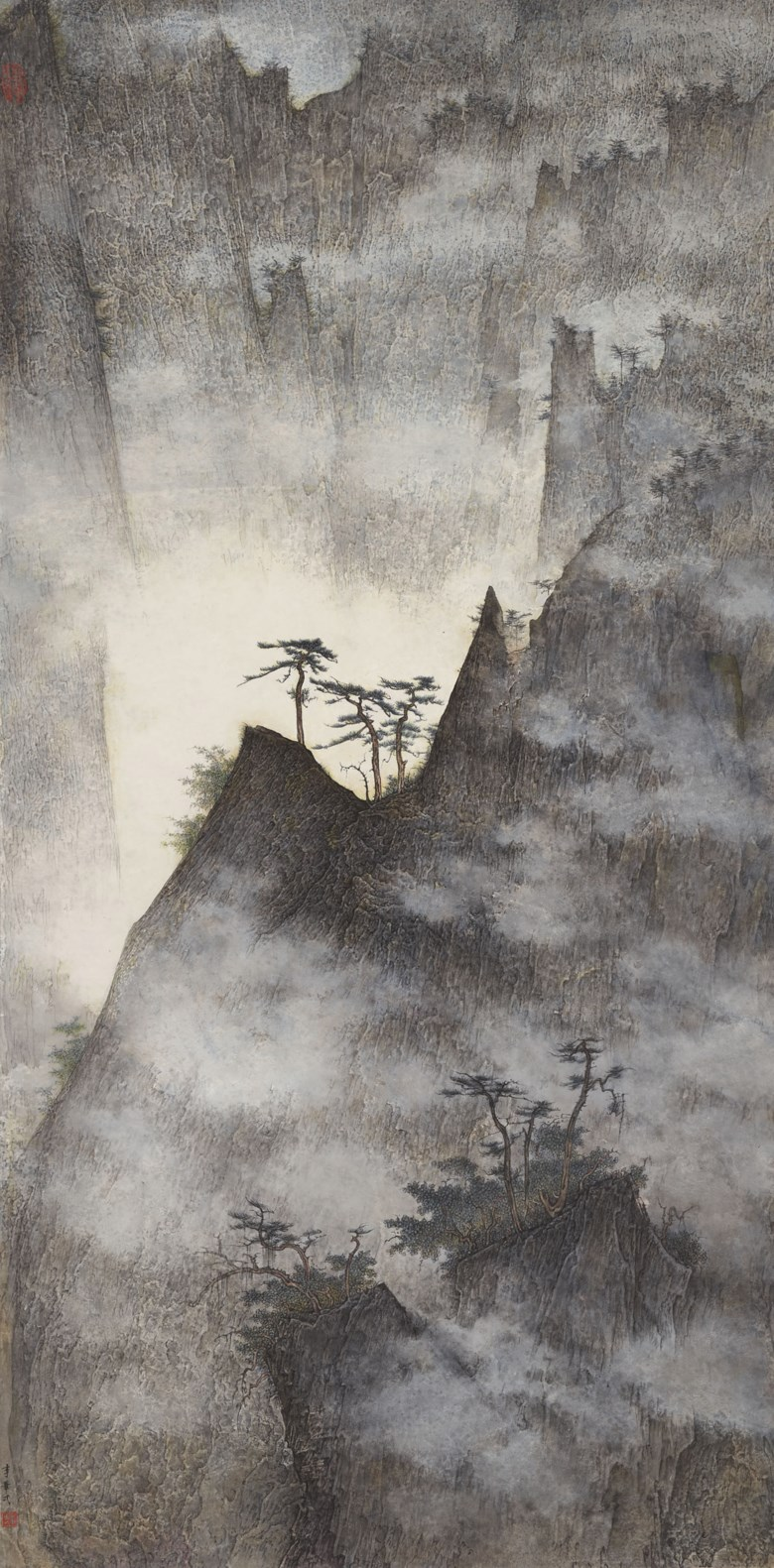 Li Huayi (b. 1948), Rising Mountain, 2006. Scroll, mounted and framed, ink and colour on paper. 53¾ x 26⅝ in (136.5 x 67.5  cm). Estimate HK$1,600,000-2,600,000. Offered in Chinese Contemporary Ink on 25 November 2019 at Christie's in Hong Kong