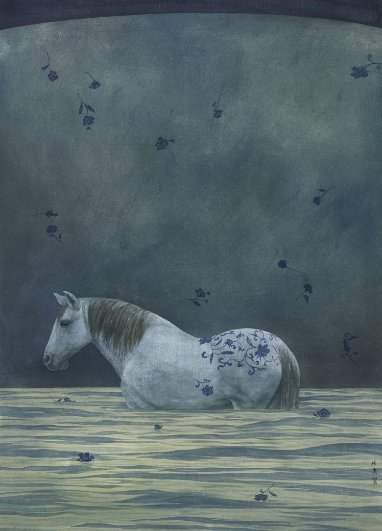 Xu Lei (b. 1963), Departing Horse, 1997. Scroll, mounted and framed, ink and colour on paper. 30⅝ x 22 in (78 x 56  cm). Estimate HK$500,000-700,000. Offered in Chinese Contemporary Ink on 25 November 2019 at Christie's in Hong Kong