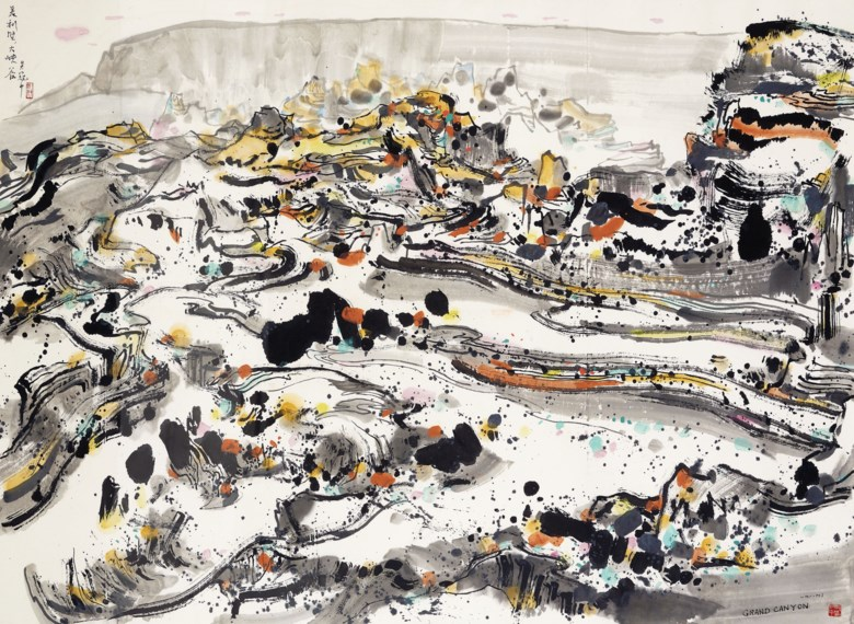 Wu Guanzhong (1919-2010), The Grand Canyon, 1989. 123.3 x 170 cm (48½ x 66⅞ in). Estimate HK$15,000,000-20,000,000. Offered in Fine Chinese Modern Paintings on 26 November 2019 at Christie's in Hong Kong