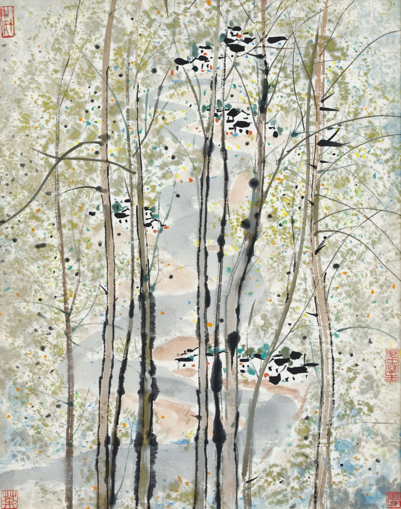 Wu Guanzhong (1919-2010), Residents at Riverbank. 51 x 40 cm (20⅛ x 15 ¾ in). Estimate HK$1,500,000-2,500,000. Offered in Fine Chinese Modern Paintings on 26 November 2019 at Christie's in Hong Kong