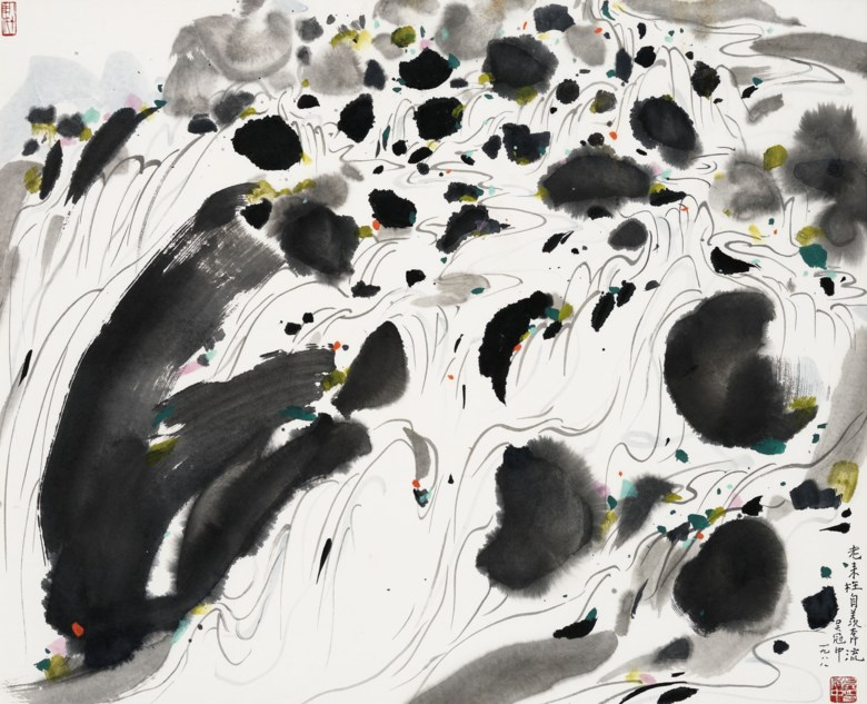 Wu Guanzhong (1919-2010), An Old Mans Envy of a Rushing Stream, 1988. 66 x 81 cm (26 x 31⅞ in). Estimate HK$2,500,000-3,500,000. Offered in Fine Chinese Modern Paintings on 26 November 2019 at Christie's in Hong Kong