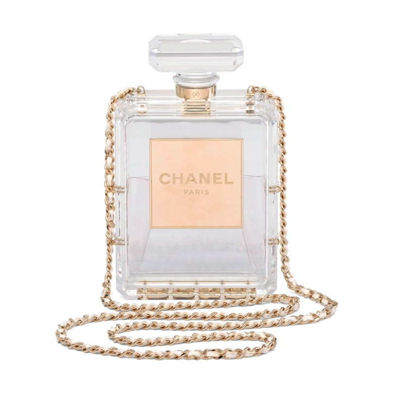 a611e1f0149d A runway clear lucite N°5 Perfume Bottle clutch with gold hardware, Chanel,