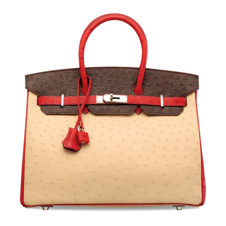 A custom Parchemin, Marron Foncé & Rouge VIF ostrich Birkin 35 with palladium hardware, Hermès, 2008. 35 w x 25 h x 18 d cm. Estimate HK$60,000-80,000. Offered in Handbags & Accessories on 29 May 2019 at Christie's in Hong Kong