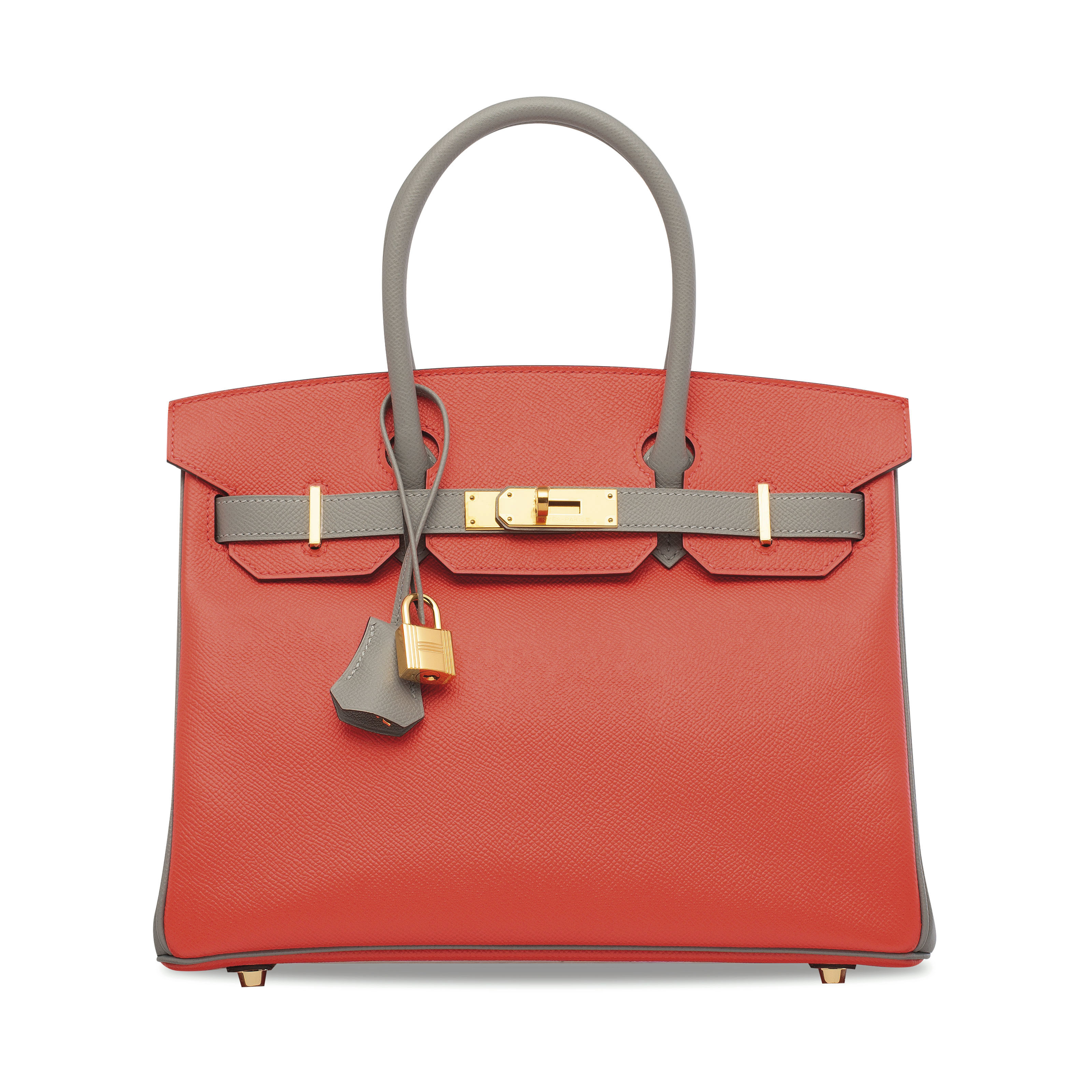 A CUSTOM ROUGE PIVOINE & GRIS MOUETTE EPSOM LEATHER BIRKIN 30 WITH GOLD...