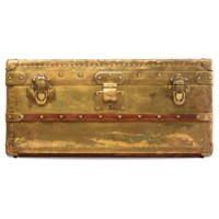 A RARE, BRASS EXPLORER TRUNK