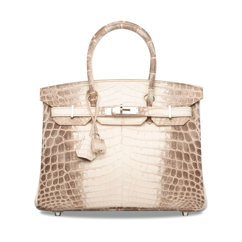 A rare, matte white himalaya niloticus crocodile Birkin 30 with palladium hardware, Hermès, 2014. 30 w x 22 h x 15 d cm. Estimate HK$600,000-800,000. Offered in Handbags & Accessories on 29 May 2019 at Christie's in Hong Kong