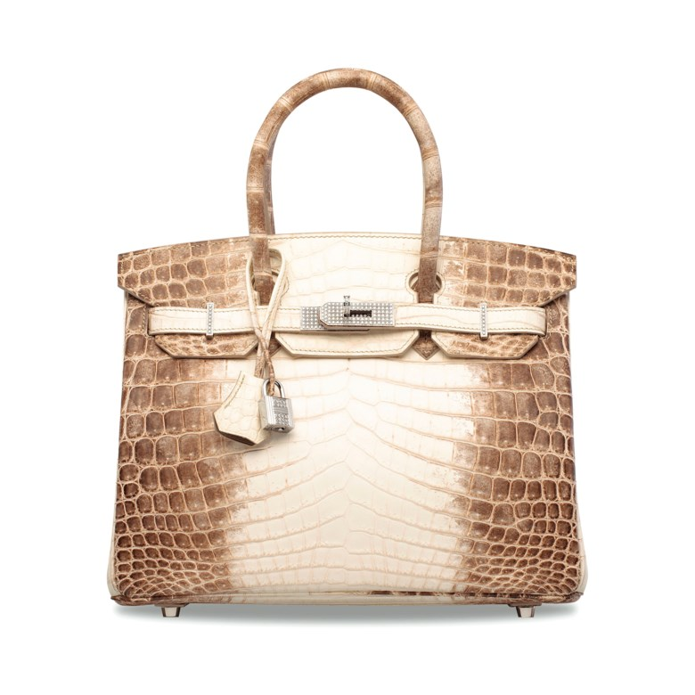 An exceptional, matte white Himalaya niloticus crocodile diamond Birkin 30 with 18k white gold & diamond hardware, Hermès, 2011. Dimensions 30 w x 22 h x 15 d cm. Estimate HK$1,000,000-1,500,000. Offered in Handbags & Accessories on 29 May 2019 at Christie's in Hong Kong