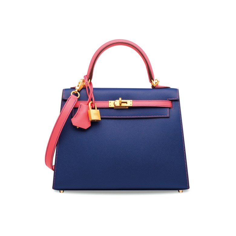 A custom Bleu Électrique & Rose Azalée Epsom leather Sellier Kelly 25 with brushed gold hardware, Hermès, 2018. 25 w x 18 h x 9 d cm. Estimate HK$100,000-150,000. Offered in Handbags & Accessories on 29 May 2019 at Christie's in Hong Kong