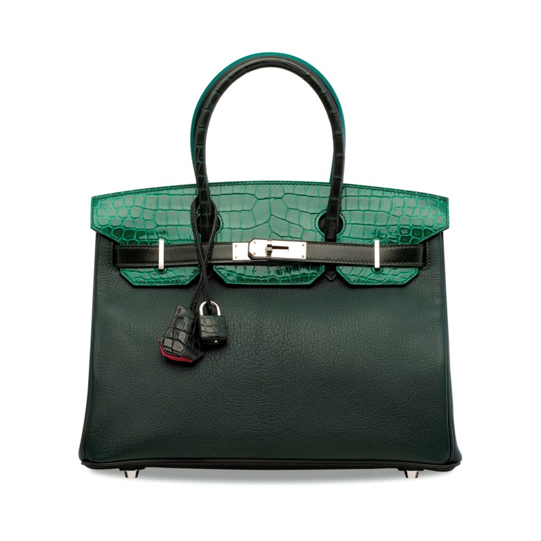 A limited edition shiny vert emeraude & matte vert iitien porosus crocodile, malachite Epsom leather, vert foncé Clémence, evercolour, Calf Box & Chèvre leather & Rose Azalée Patchwork Birkin 30 with palladium hardware, Hermès, 2017. 30 w x 22 h x 15 d cm. Sold for HK$400,000 on 29 May 2019 at Christie's in Hong Kong