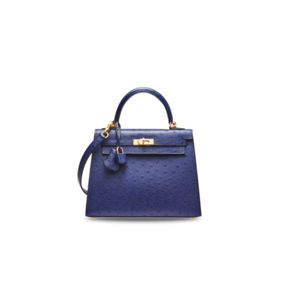 A BLEU IRIS OSTRICH SELLIER KELLY 25 WITH GOLD HARDWARE