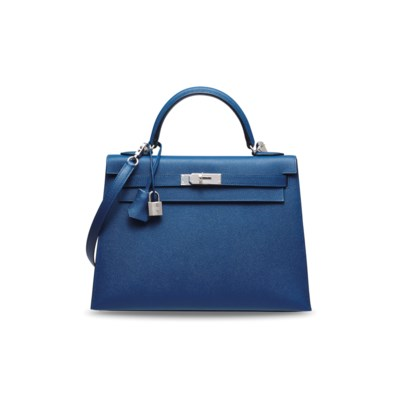 A DEEP BLUE EPSOM LEATHER SELLIER KELLY 32 WITH PALLADIUM HARDWARE