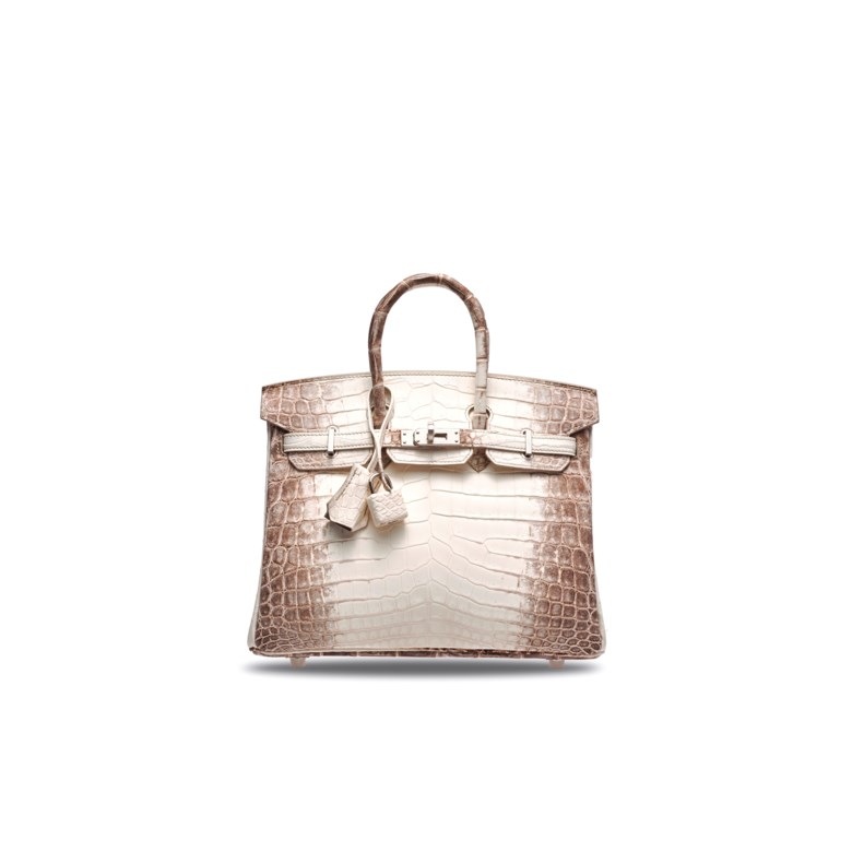 A rare, matte white Himalaya Niloticus Crocodile Birkin 25 with palladium hardware, Hermès, 2018. 25 w x 19 h x 13 d cm. Estimate HK$600,000-800,000. Offered in Handbags & Accessories  on 25 November 2019 at Christie's in Hong Kong