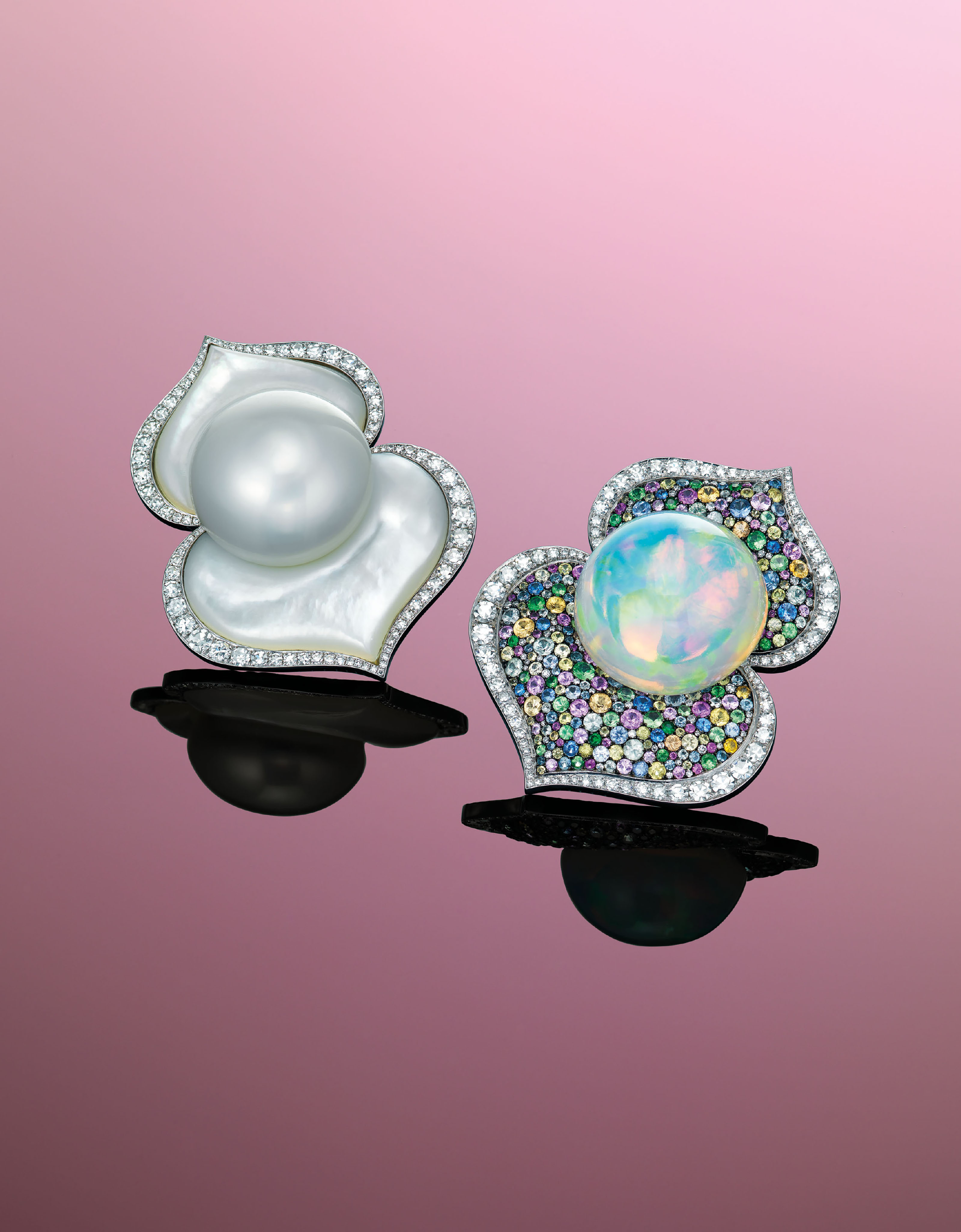 UNIQUE CULTURED PEARL, OPAL AND MULTI-GEM EARRINGS