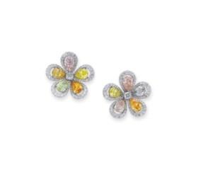 COLOURED DIAMOND AND DIAMOND EARRINGS