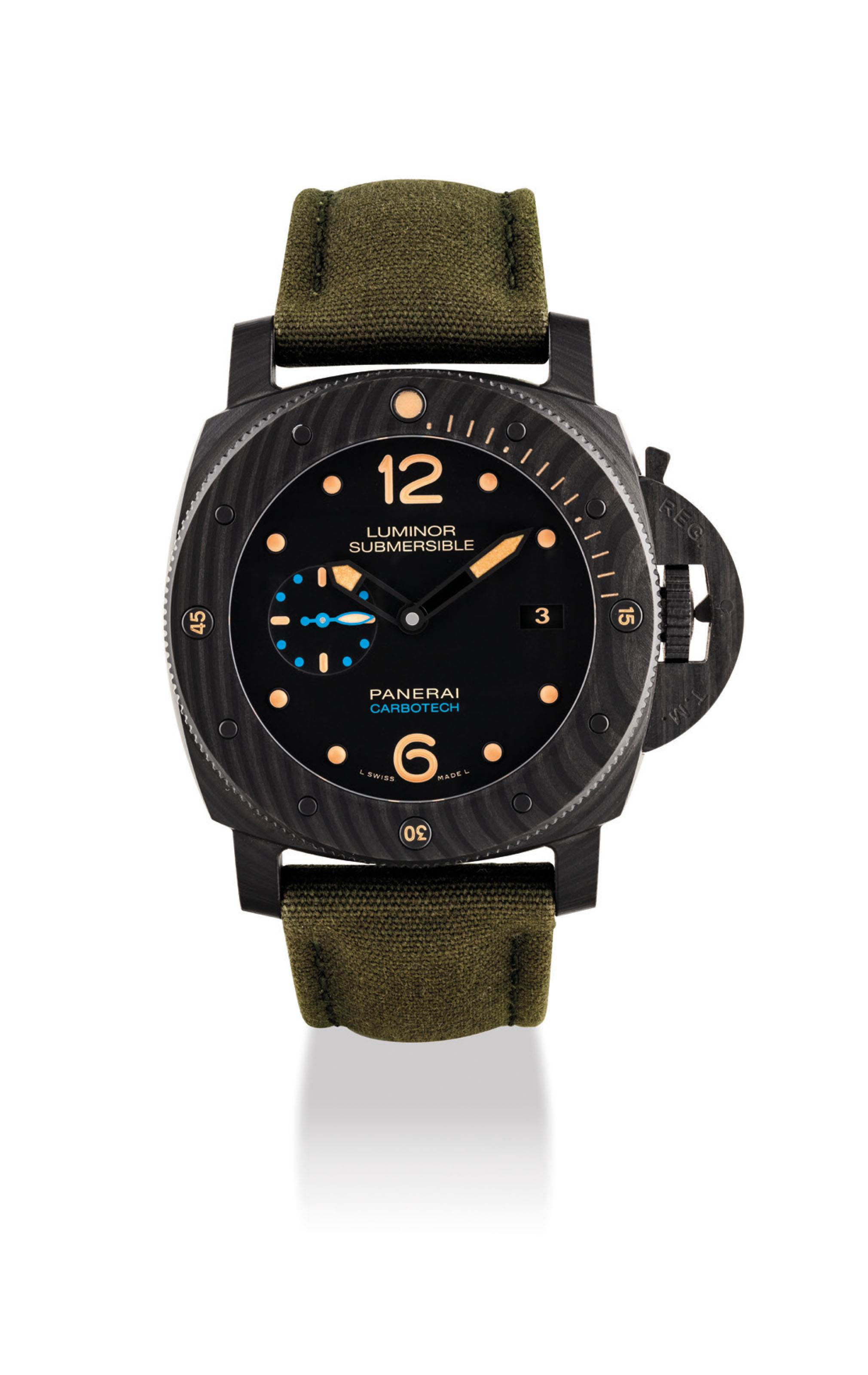 PANERAI. A CARBOTECH CUSHION-SHAPED AUTOMATIC WRISTWATCH WITH DATE