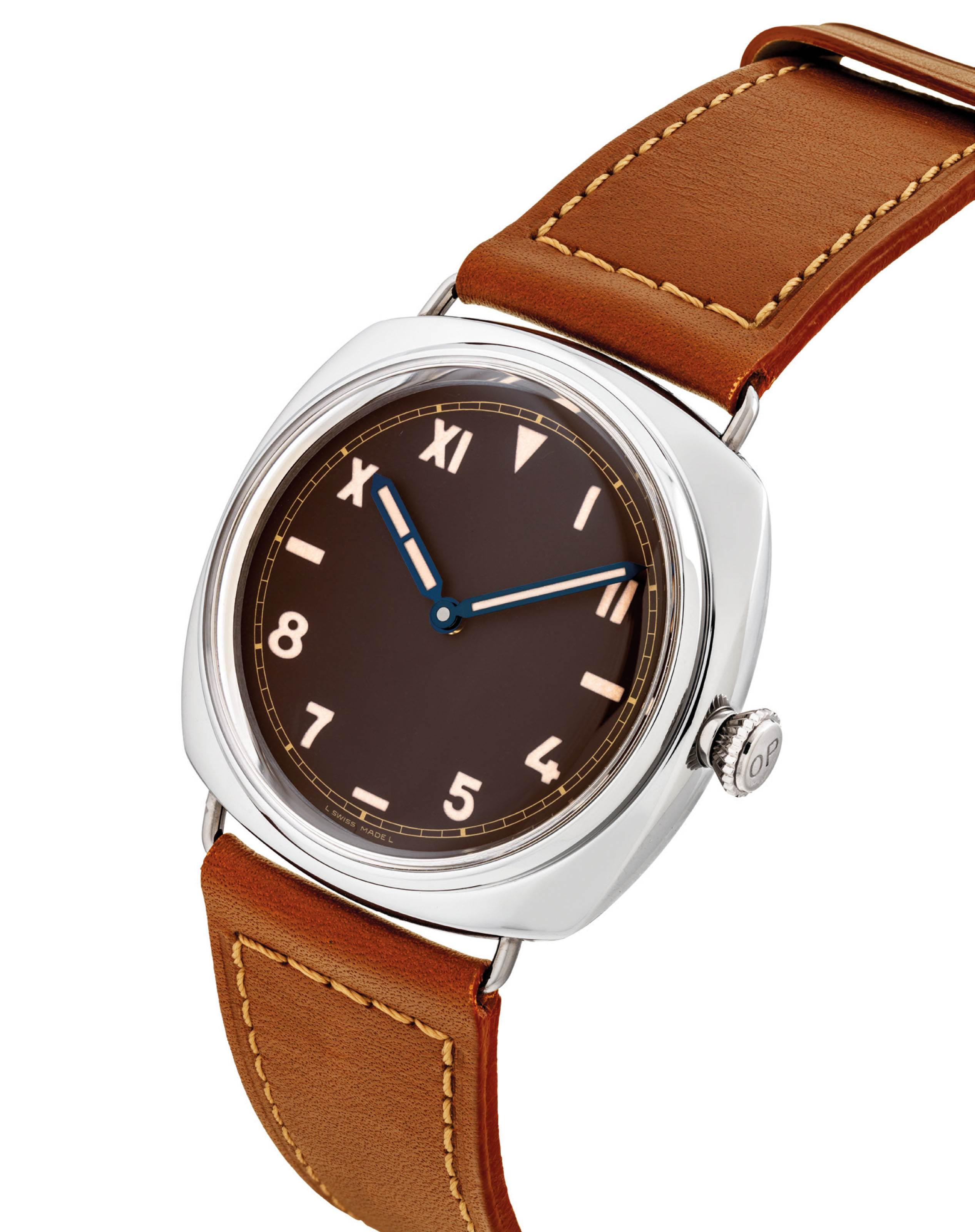 PANERAI. A FINE AND VERY RARE PLATINUM LIMITED EDITION CUSHION-SHAPED...
