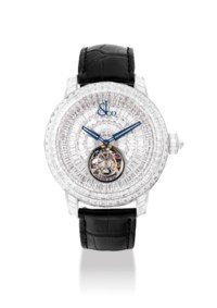 JACOB & CO. A FINE, EXTREMELY RARE AND MAGNIFICENT 18K WHITE GOLD AND BAGUETTE-CUT DIAMOND-SET LIMITED EDITION TOURBILLON WRISTWATCH
