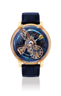 JACOB & CO. A VERY FINE, EXTREMELY RARE AND IMPRESSIVE 18K PINK GOLD AND ORANGE SAPPHIRE-SET LIMITED EDITION GRAVITATIONAL TRIPLE AXIS TOURBILLON WRISTWATCH WITH SKY INDICATOR OF THE CELESTIAL PANORAMA, MONTH, DAY/NIGHT INDICATOR AND ORBITAL SECOND HAND