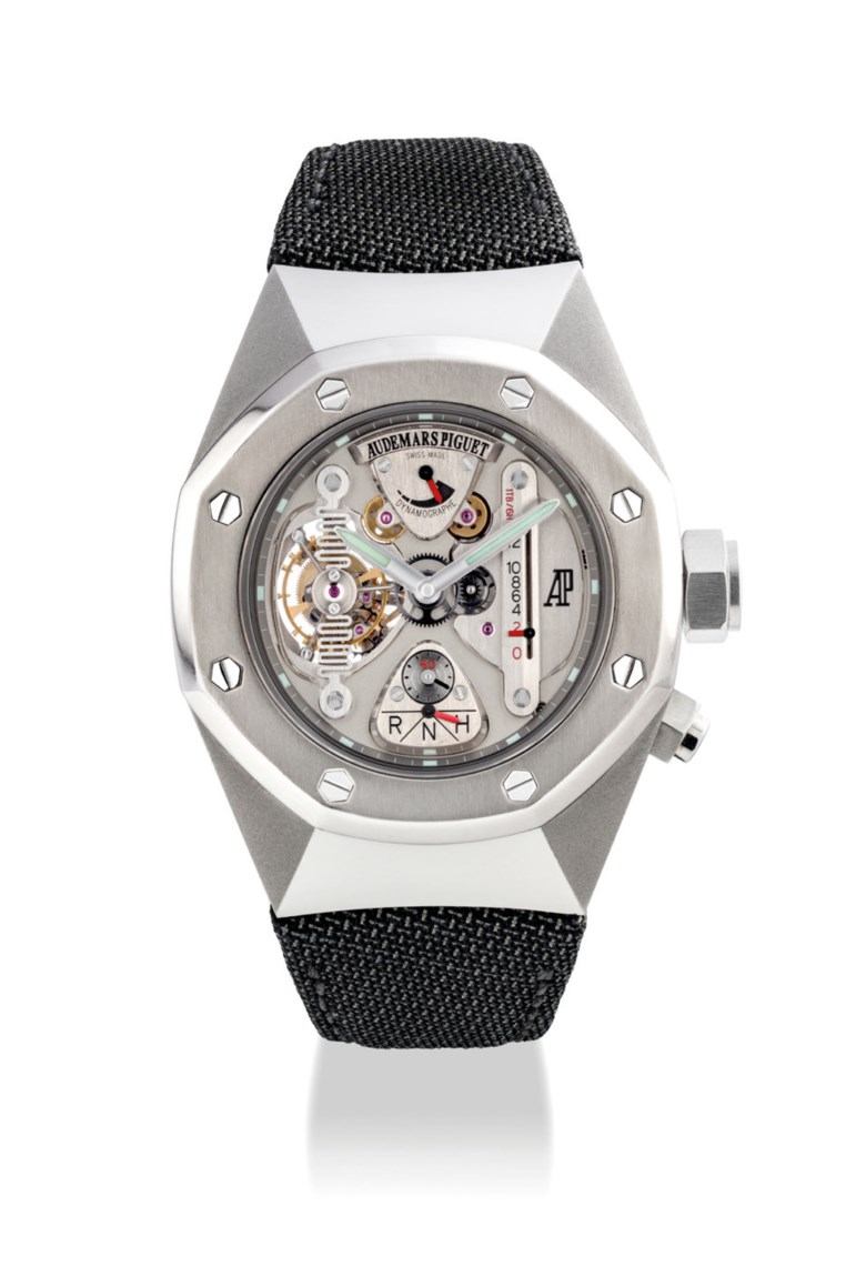 Audemars Piguet. A fine, rare and unusual alacrite and titanium limited-edition semi-skeletonised tourbillon wristwatch with power reserve and dynamographe indications, c. 2004. Signed Audemars Piguet, Royal Oak Concept Watch 1 Model, movement no. 543'801, case no. E88280. Sold for HK$1,375,000 on 27 May 2019 at Christie's in Hong Kong