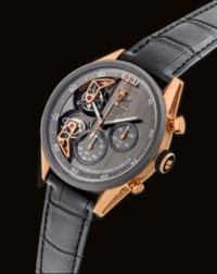 TAG HEUER. A VERY FINE AND RARE 18K PINK GOLD AND TANTALUM AUTOMATIC SEMI-SKELETONISED DOUBLE TOURBILLON CHRONOGRAPH WRISTWATCH WITH 1/100 SECONDS REGISTER AND POWER RESERVE
