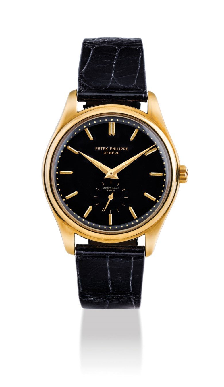 Patek Philippe. an extremely rare and important 18k gold automatic wristwatch with luminous black enamel dial. Signed Patek Philippe, Genève, retailed by Serpico y Laino Caracas, ref. 2526, movement no. 761199, case no. 684507, manufactured in 1954. Case screwdown back, 36 mm diameter, case back stamped  S&L, signed. Sold for HK$2,437,500 on 27 May 2019 at Christie's in Hong Kong