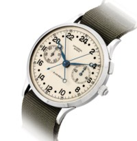UNIVERSAL. A VERY FINE AND EXTREMELY RARE OVERSIZED STAINLESS STEEL MILITARY SPLIT SECONDS CHRONOGRAPH 24-HOUR WRISTWATCH WITH 16-MINUTE REGISTER, MADE FOR THE ITALIAN NAVY