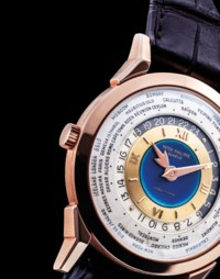 PATEK PHILIPPE. AN EXCEPTIONAL, UNIQUE AND HIGHLY IMPORTANT 18K PINK GOLD TWO-CROWN WORLD TIME WRISTWATCH WITH 24 HOUR INDICATION AND DOUBLE-SIGNED BLUE ENAMEL DIAL