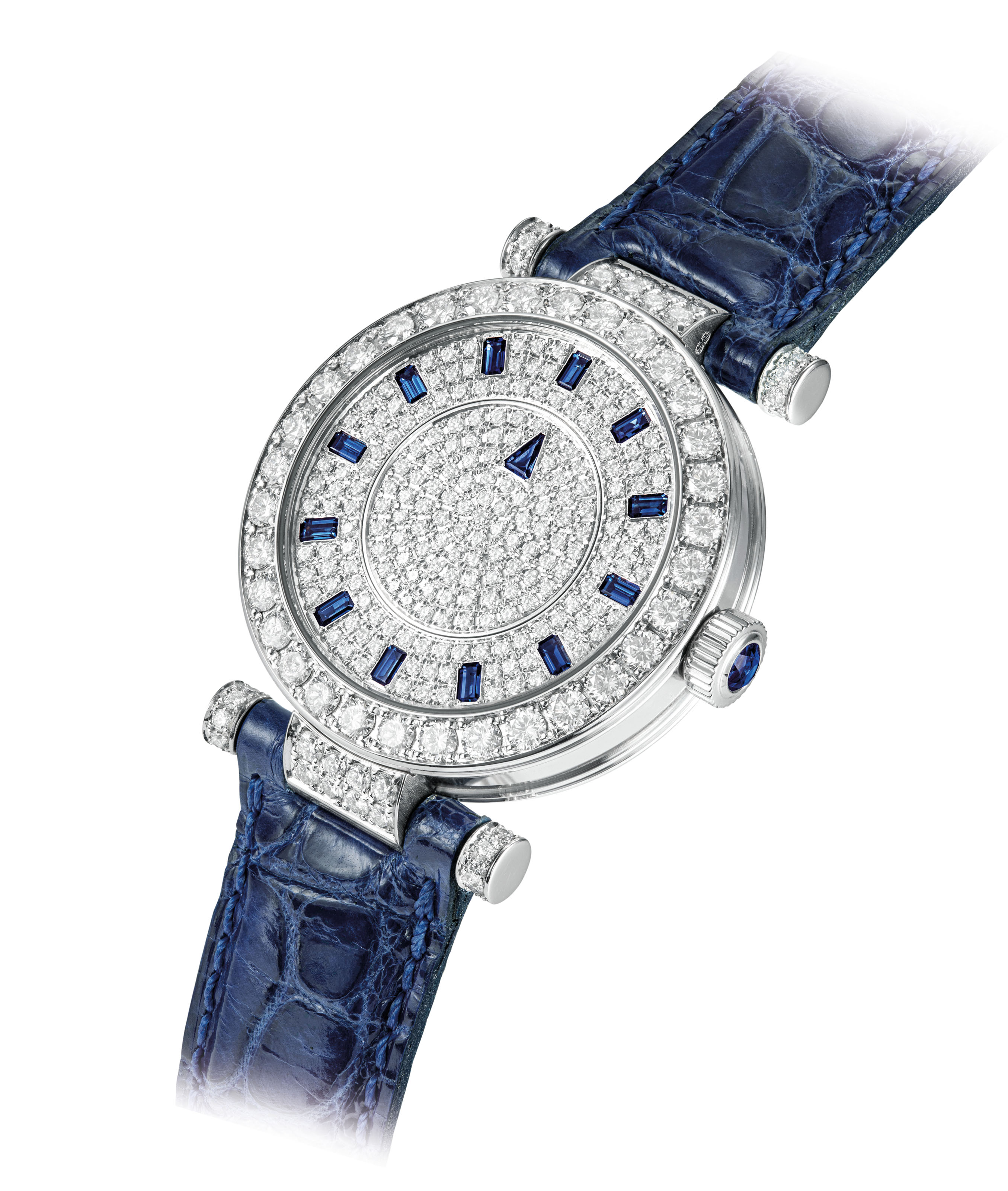 FRANCK MULLER. A LADY ' S FINE 18K WHITE GOLD, DIAMOND AND SAPPHIRE-SET...