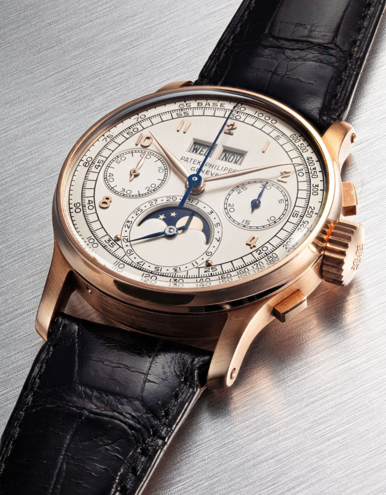 Patek Philippe. A very fine and extremely rare, 18k pink gold perpetual calendar square button chronograph wristwatch with moon phases, tachymeter and an 18k pink gold Patek Philippe link bracelet. Signed Patek Philippe, Genève, ref. 1518, movement no. 868088, case no. 668397, manufactured in 1951. Estimate HK$6,000,000-9,000,000. Offered in The Masterpiece Auction (23 Nov)  Important