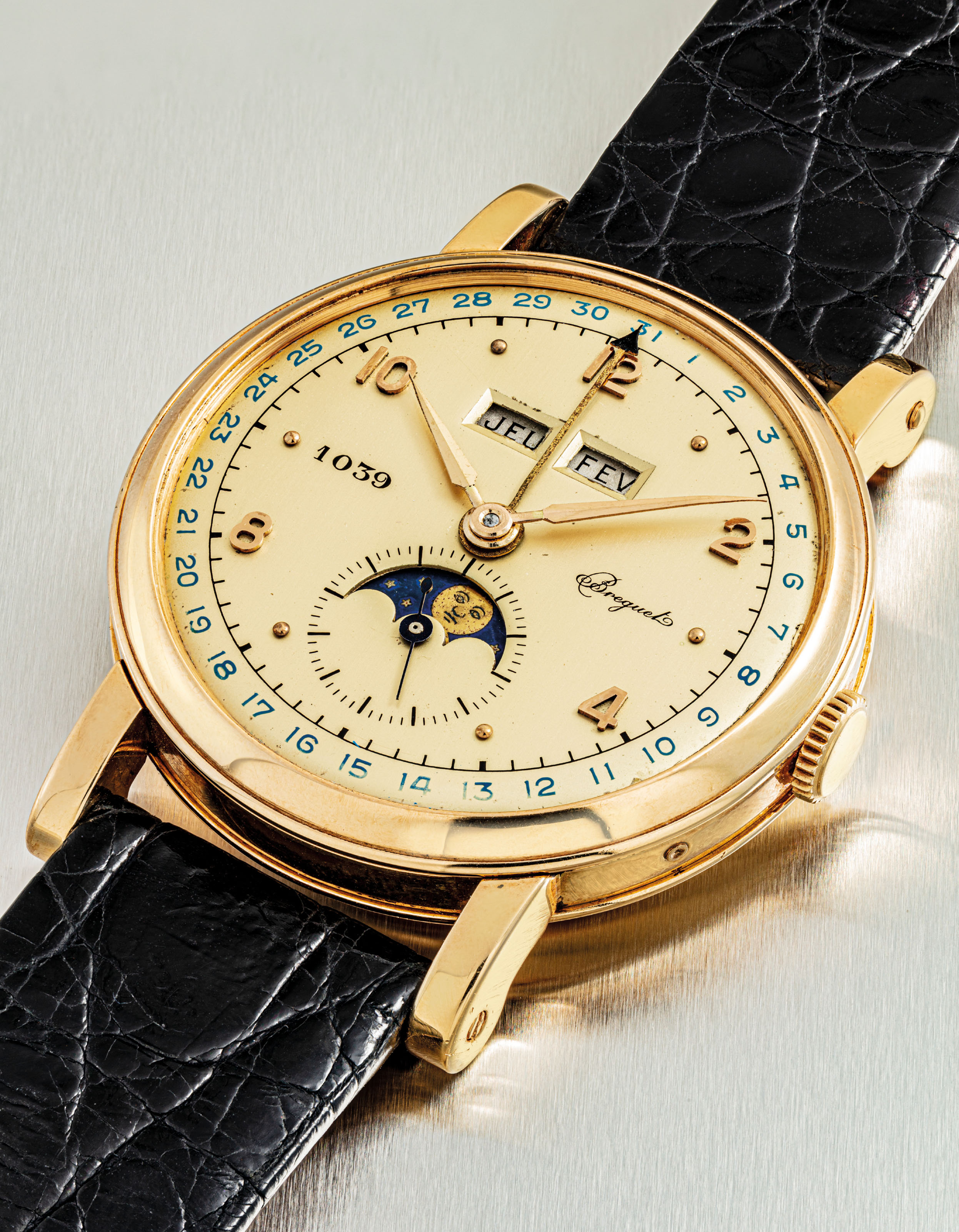 BREGUET. A VERY FINE AND EXTREMELY RARE 18K GOLD TRIPLE CALENDAR WRISTWATCH WITH MOON PHASES AND PINK DIAL