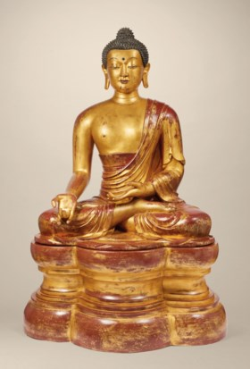 A HIGHLY IMPORTANT AND MONUMENTAL IMPERIAL GILT-LACQUERED WO