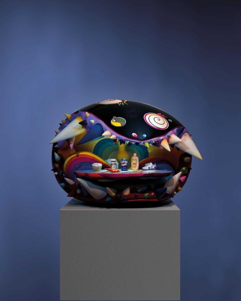 村上隆(1962年生);及菲瑞·威廉斯 (1973年生),《The Simple Things》,2008-2009年作。玻璃纖維 鋼 LED 燈 壓克力 七件鑲有紅、藍、綠寶石和鑽石的黃金(白、黃、粉紅) 製品。整體:188 x 110 x 101公分 (74 x 43 14 x 39 ¾吋)。2019年11月23日於佳士得香港售出,成交價21,725,000港元