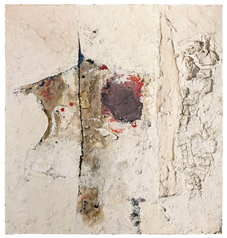 Alberto Burri (1915-1995), Bianco, 1954. Oil, pumice stone, gold, vinavil on Cellotex. 42 x 39.5 cm. Estimate €300,000-500,000. Offered in Thinking Italian Milan on 3-4 April 2019 at Christie's in Milan