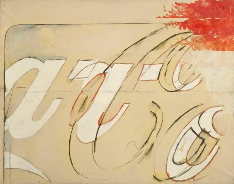 Mario Schifano (1934-1998), Particolare di propaganda, 1964. Enamel, oil and pencil on canvas. 140.7 x 180 cm. Sold for €634,000 on 3-4 April 2019 at Christie's in Milan.Artwork © Mario Schifano, DACS 2019