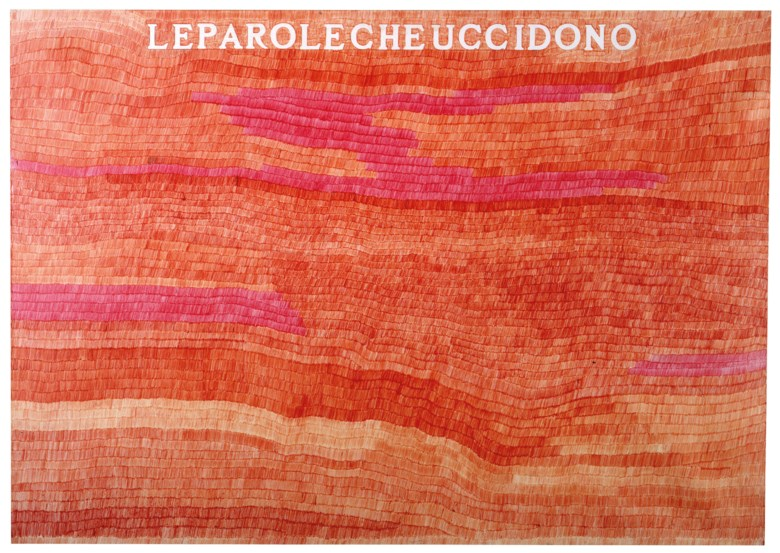 Alighiero Boetti (1940-1994), Le parole che uccidono, circa 1975. Red ball point pen on paper laid down on canvas. 70 x 101 cm. Estimate €80,000-120,000. This lot is offered in Thinking Italian Milan on 3-4 April 2019 at Christie's in Milan