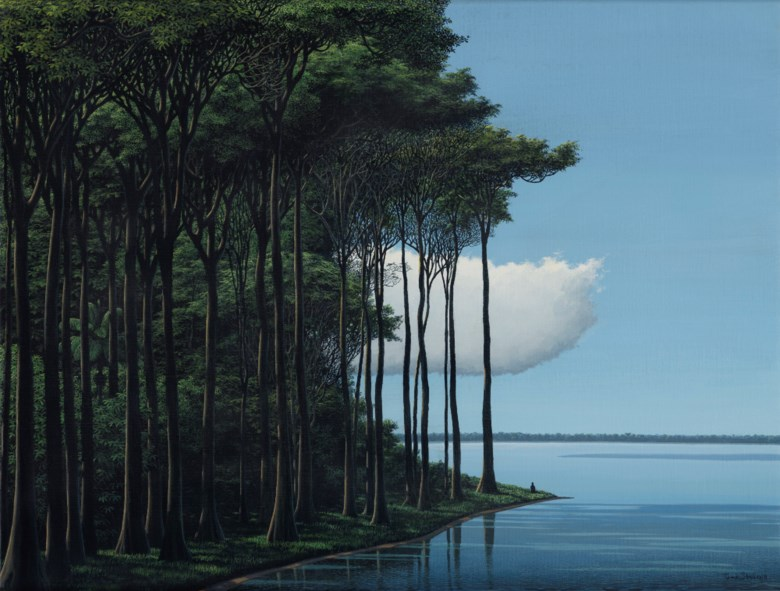 Tomás Sánchez (b. 1948), Meditador, laguna, nube, 2018. Acrylic on canvas. 18⅛ x 24 in (46 x 61  cm). Estimate $60,000-80,000. Offered in Latin American Art on 22-23 May 2019 at Christie's in New York