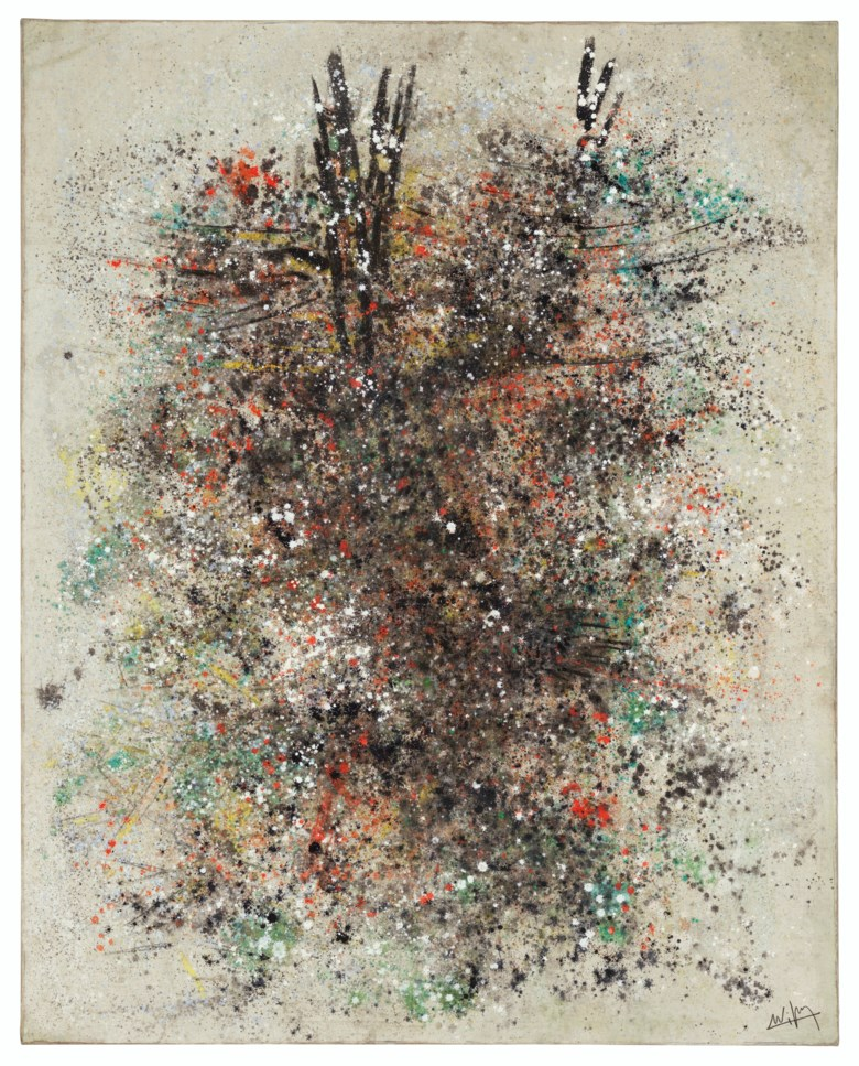 Wifredo Lam (1902-1982), Untitled, painted in 1958. Oil on canvas. 82½ x 66  in (209.6 x 167.6  cm). Estimate $400,000-600,000. Offered in Latin American Art on 22-23 May 2019 at Christie's in New York
