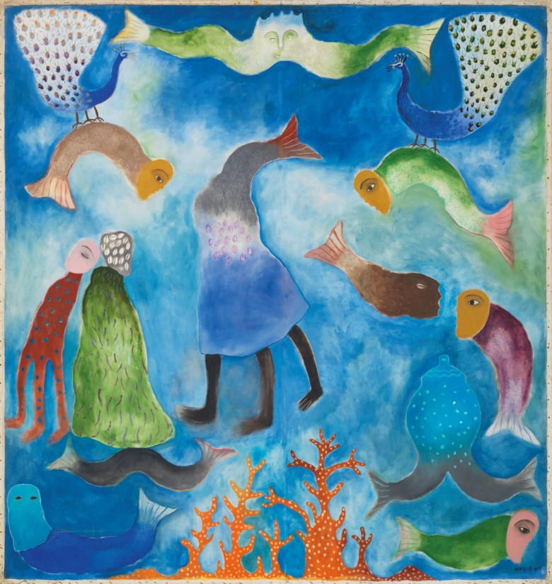 Manuel Mendive (b. 1944), Aguas profundas, painted in 1994. Oil on canvas. 111¾ x 106 ¼  in (284 x 270  cm). Estimate $60,000-80,000. Offered in Latin American Art on 22-23 May 2019 at Christie's in New York