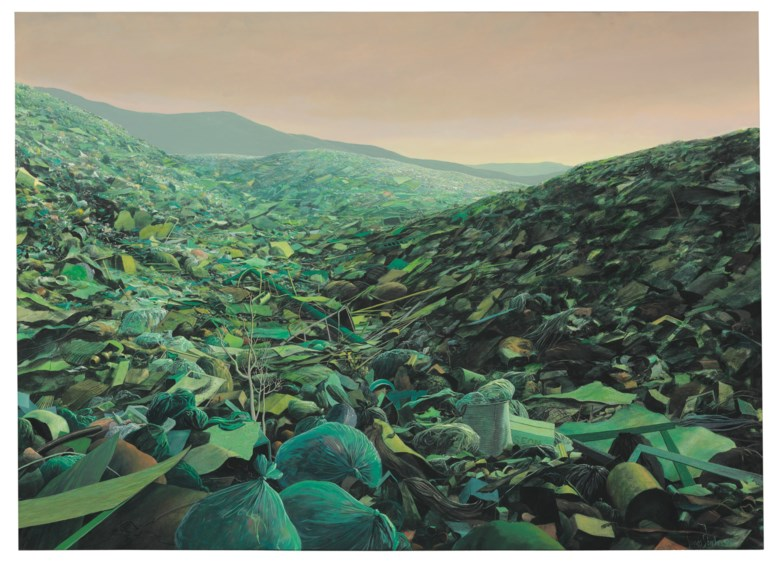 Tomás Sánchez (b. 1948), Basurero verde para falsos ecologistas, painted in 1996. Acrylic on canvas. 42⅜ x 58⅛  in (107.7 x 147.7  cm). Estimate $120,000-180,000. Offered in Latin American Art on 22-23 May 2019 at Christie's in New York