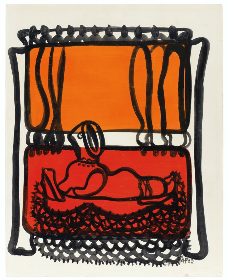 Amelia Peláez (1896-1968), Mujer reclinada, executed in 1960. Gouache on paper laid on heavy paper. 28⅝ x 22¾  in (72.7 x 57.8  cm). Estimate $15,000-20,000. Offered in Latin American Art on 22-23 May 2019 at Christie's in New York