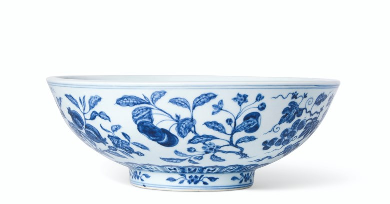 An extremely rare and fine large blue and white 'fruit spray' bowl, Xuande six-character mark in underglaze blue in a line at the rim and of the period (1426-1435). 11⅝  in (29.5  cm)  diam. Estimate $2,000,000-3,000,000. Offered in Fine Chinese Ceramics & Works of Art on 22 March 2019 at Christie's in New York