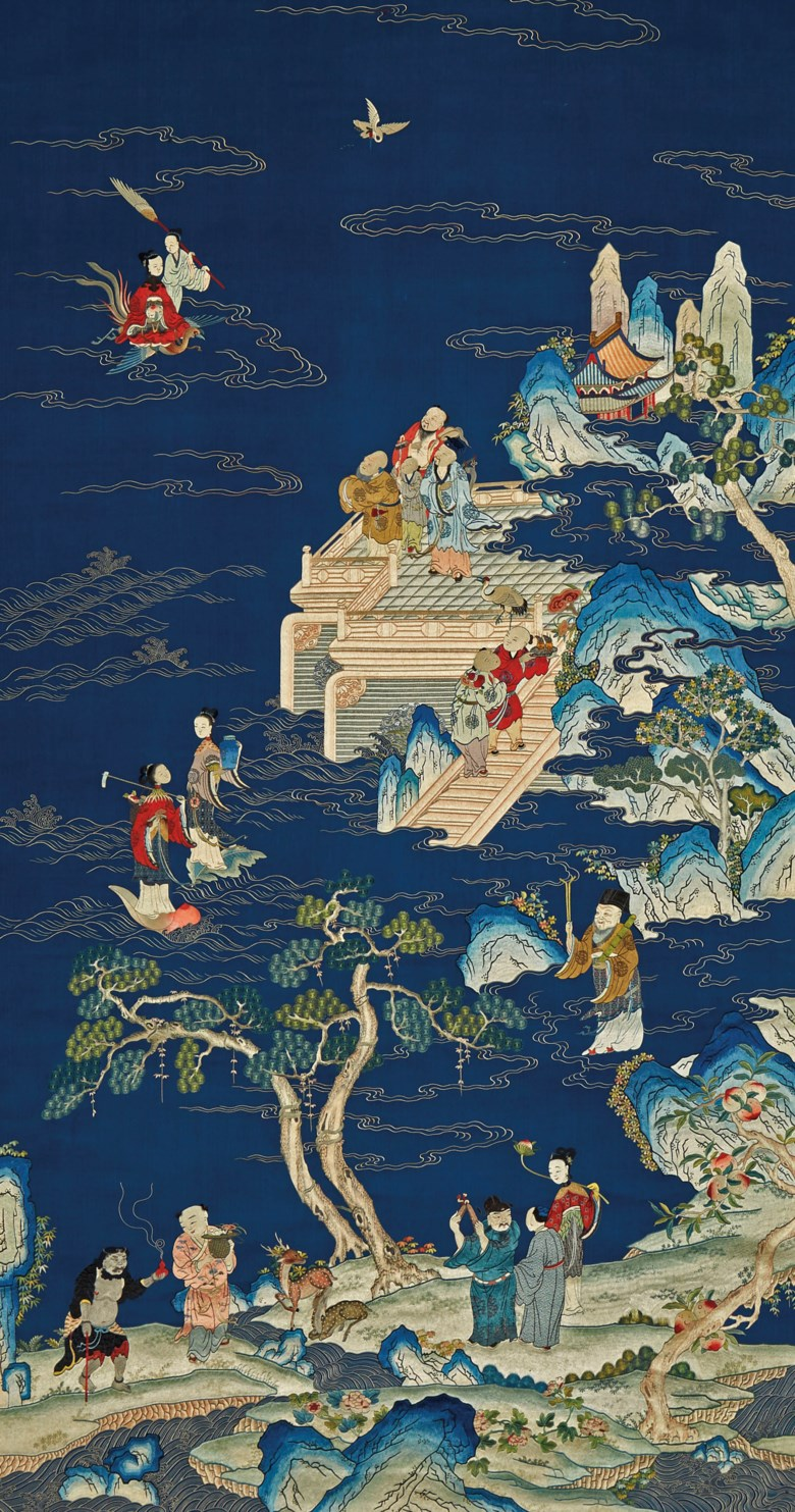 A very fine and large embroidered Daoist immortals birthday panel, Qianlong period (1736-1795). 76 x 41  in (193 x 104  cm), Japanese wood box. Sold for $187,500 on 22 March 2019 at Christie's in New York
