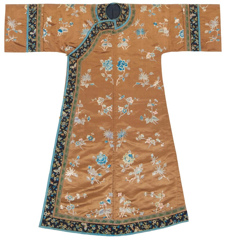 A brown-ground embroidered womans informal robe for a princess or a  duchess 38b2d3521