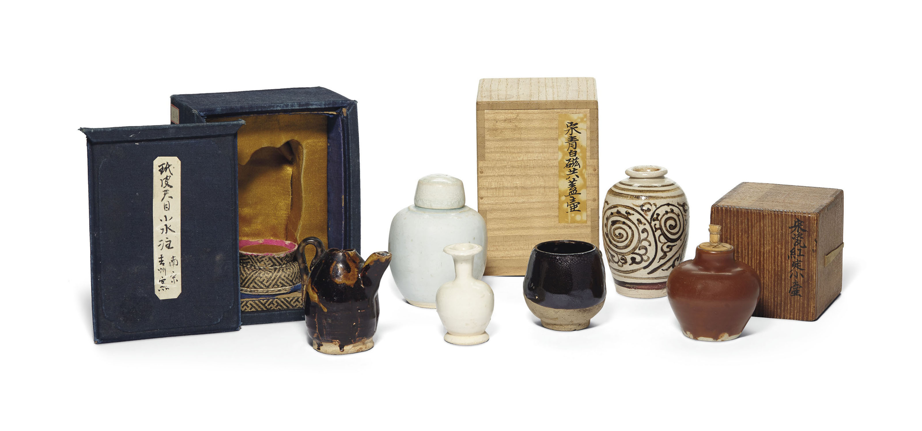 A GROUP OF SIX MINIATURE VESSELS