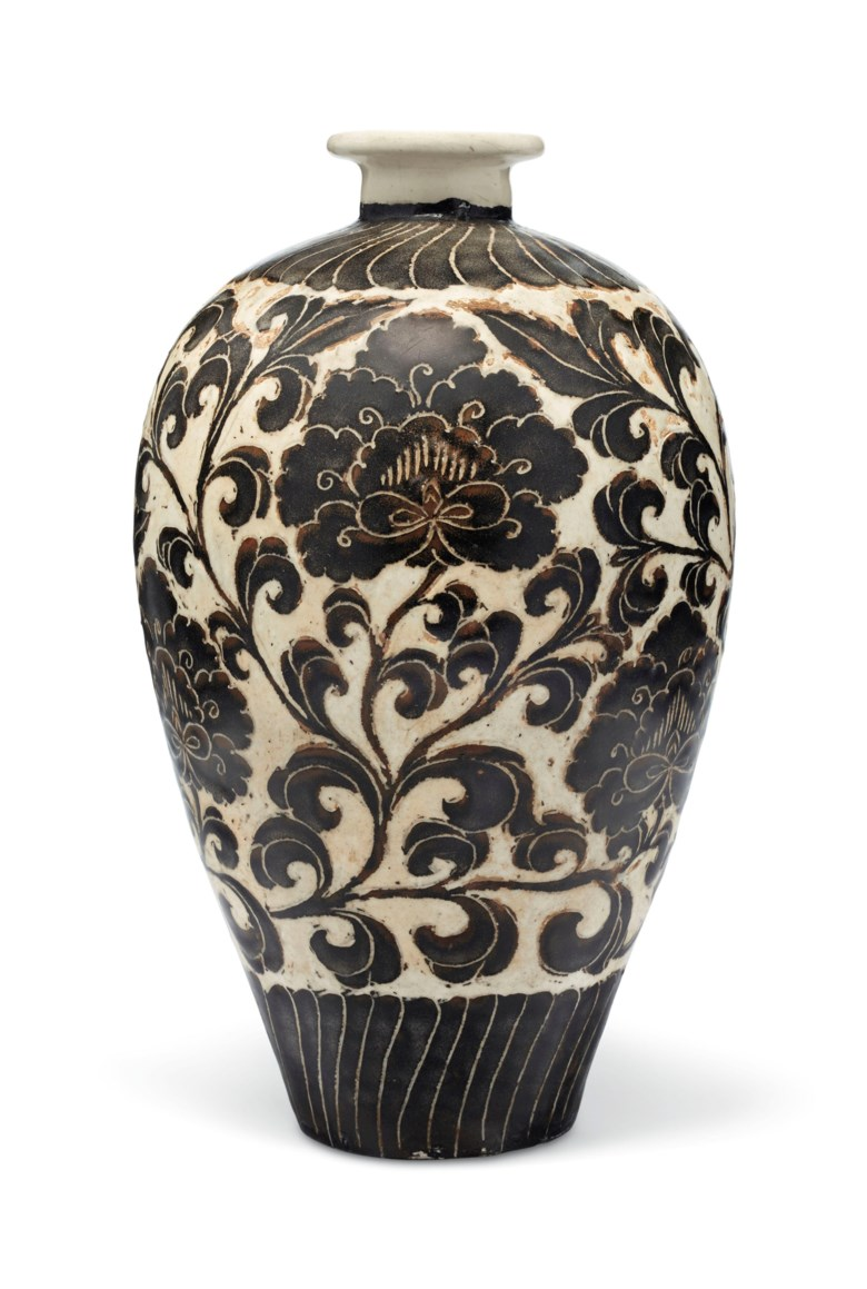 A Cizhou sgraffiato 'peony' meiping, Northern Song dynasty (AD 960-1127). 12 in (30.5 cm) high, Japanese wood box. Estimate $60,000-80,000. Offered in Fine Chinese Ceramics & Works of Art on 22 March 2019 at Christie's in New York