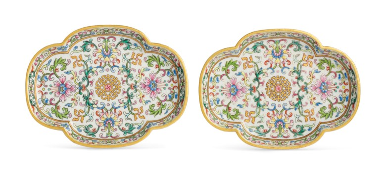 A rare pair of famille rose white-ground quadrilobed trays, Qianlong six-character seal marks in iron red and of the period (1736-1795). 5⅞ in (14.9 cm) long, cloth box. Estimate $100,000-150,000. Offered in Fine Chinese Ceramics & Works of Art on 22 March 2019 at Christie's in New York